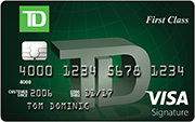 TD First class visa signature credit card for travel rewards